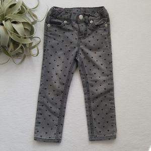 Girls Gray Heart Skinny Jeans